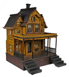 Antique dollhouse, lots of detail and great old color. (Tramp-Art) .....Rick Maccione-Dollhouse Builder www.dollhousemansions.com