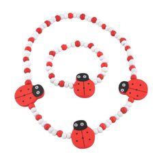 Jewelry Sets for Little Girls - Stretch Ladybug Necklace and Bracelet