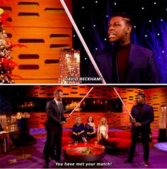 """When John Boyega challenged David Beckham to a lightsaber duel. 