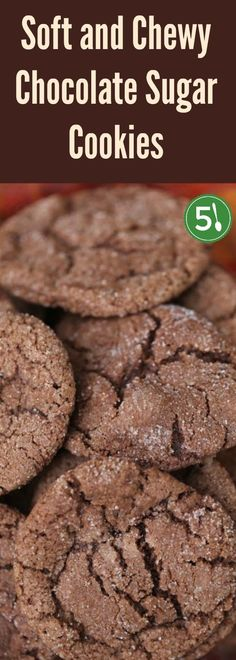 Easy recipe for soft and chewy chocolate sugar cookies that are easy to whip up with ingredients that you most likely already have in your cupboard. via @https://www.pinterest.com/fivesilverspoon