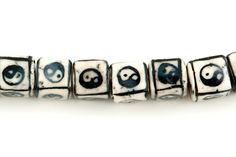 40 pcs - Cube Beads, Ceramic Beads, Yin Yang Beads, Black & White Beads, 8mm, Porcelain Beads, DIY Jewelry Supplies,  POBW-01 by JBCBeads on Etsy
