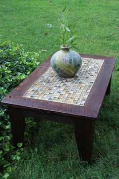Coffee Table, Tile Mosaic, Reclaimed Wood, Rustic Contemporary, Dark Brown  Wax Finish