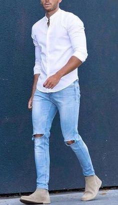 me encanta la camisa cuello mao...los pantalones no son para un varon bien machote
