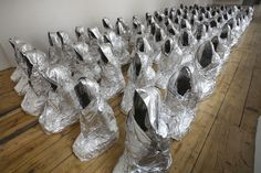 """Kader Attia Ghosts Aluminum foil 2007 """" Born in Dugny, France in 1970, Kader Attia spent his childhood between France and Algeria, between the Christian Occident and the Islamic Maghreb. His work explores the impact of Western cultural and political..."""