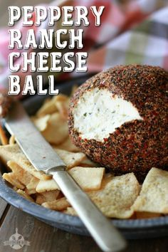 Ranch Cheese Ball - Guest Post Peppery Ranch Cheese Ball - Only 3 ingredients!Peppery Ranch Cheese Ball - Only 3 ingredients! Recipes Appetizers And Snacks, Appetizer Dips, Yummy Appetizers, Snack Recipes, Cooking Recipes, Dip Recipes, Cream Cheese Ball, Cheese Stuffed Peppers, Cheese Ball Recipes