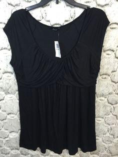 Soprano Womens Plus Size 2X Black Draped Neckline Bust Empire Waist Top Shirt #Soprano #KnitTop