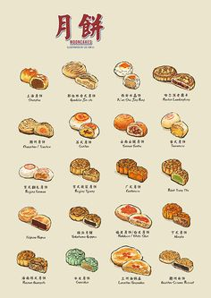 A student creates an illustrated guide to mooncakes just in time for Mid-Autumn Festival. Learn Chinese, Chinese Food, Japanese Food, Cute Food, Yummy Food, Food Sketch, Watercolor Food, Mid Autumn Festival, Food Drawing