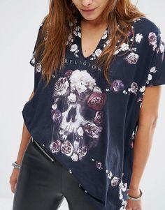 Image 3 - Religion - T-shirt oversize à imprimé tête de mort et roses