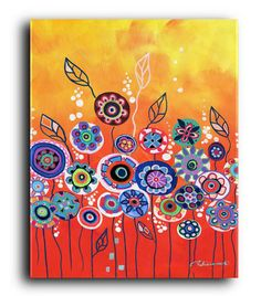 Items similar to Gallery Canvas and Fine Art Prints Whimsical Orange Garden Landscape Flowers Folk Giclee Elena on Etsy Contemporary Abstract Art, Modern Art, Online Painting, Whimsical Art, Art Projects, Original Paintings, Fine Art Prints, Decoration, Canvas