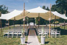 Freietrauung, Vintage-Hochzeit im Sommer, Stretchzelt