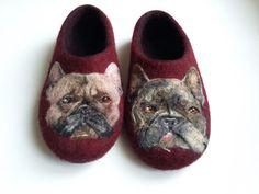French bulldog Mama slippers Felt art Wool shoes by ShimaFiberArt