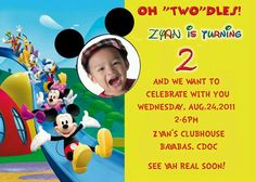 Mickey Mouse Club House Birthday Party Invitation