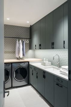 Contemporary kitchen design with green cabinets. Contemporary kitchen design with green cabinets. Modern Laundry Rooms, Laundry Room Layouts, Laundry Room Remodel, Laundry Room Cabinets, Laundry Room Organization, Organization Ideas, Storage Ideas, Laundry Storage, Kitchen Cabinets