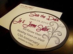 Save the dates i've made for my sister-in-laws 10th anniversary wedding renewal.