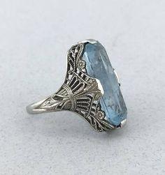 Stunning Art Deco Solid 18k White Gold Filigree and Aquamarine Ring! Size 2!
