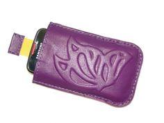Lila domborított pillangós - 'csoda' telefontok, Pénztárca, tok, tárca, Mobiltok, Kézzel készített, kívül belül bőr telefontokok (bőrrel bél...