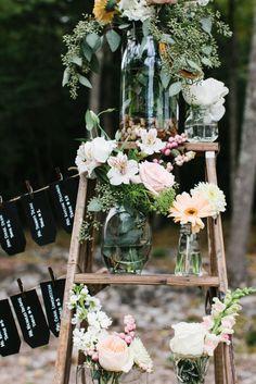 Vintage Ladder Decor for Wedding | Lakeside Wedding - Linda's Flowers in Wolfeboro NHLinda's Flowers in ...