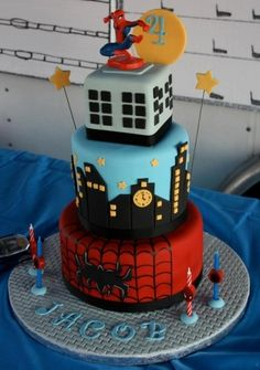 Spiderman Cake By ladyfon on CakeCentral.com