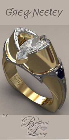 Brilliant Luxury * Greg Neeley Medieval Marquis Wedding Ring