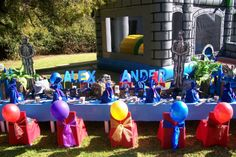 """Medieval birthday party ideas to help you create a """"Knight"""" of success. Ideas for medieval party invitations, decorations, activities, food, and favors. Prince Birthday Party, Dragon Birthday Parties, Kids Birthday Themes, Dragon Party, Birthday Stuff, Office Party Decorations, Medieval Party, Medieval Castle, Castle Party"""