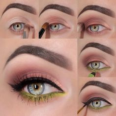 Brown and Electric Green Eyeshadow Tutorial