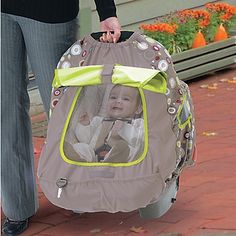 BabyShade Infant Car Seat Carrier Cover - One Step Ahead Baby. I wish it came in better colors, but this looks like the best one I've seen for ventilation.