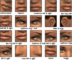 Mod The Sims - 20 Layerable Piercings Sims 4 Piercings, Facial Piercings, Types Of Piercings, Lip Piercing, Piercing Tattoo, Ear Piercings, Face Peircings, Sims 3 Makeup, Piercing Chart