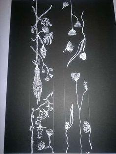 Blanco sobre negro. Dibujo sobre cartulina negra y tinta blanca