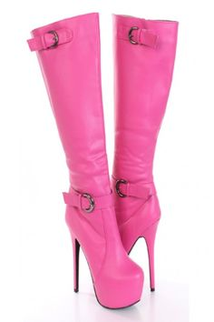 Hot Pink Lace Up Thigh High Platform Boots Faux Leather | Sexy ...