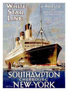 White Star Line  Southampton  Cherbourg  New York