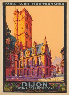/ dijon / capitale de la bourgogne / travel poster / 1922 /