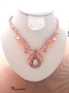 Pink and White micromacrame necklace / free shipping by Myamadasv
