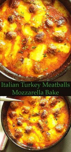 Italian Turkey Meatballs Mozzarella Bake : perfect week dinner, Italian way, served with slices of rustic bread and lettuce. Italian Turkey Meatballs, Turkey Spaghetti, Spaghetti Sauce, Rustic Bread, Turkey Recipes, Meat Recipes, Healthy Recipes, Mozzarella, Frugal Meals