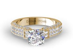 Micro Pave Diamond Engagement Ring In Yellow Gold