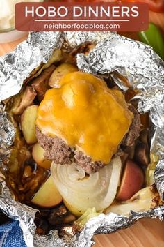 Hobo Dinner Hamburger Foil Packets - These Hobo Dinners are an easy foil packet meal you can make on the grill, in your oven, or over a - Tin Foil Dinners, Foil Packet Dinners, Foil Pack Meals, Foil Packets, Grilling Recipes, Beef Recipes, Cooking Recipes, Hamburger Recipes, Hamburger Soup