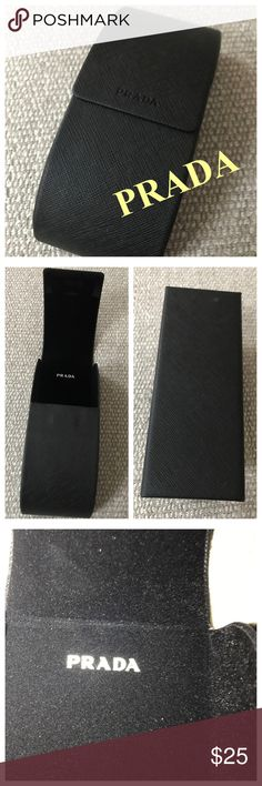 PRADA Sunglasses Case Black Sarrifino leather case. Magnetic flap top cover. Great size for larger scale glasses or sunglasses. NWOT. Excellent condition. Prada Accessories Sunglasses