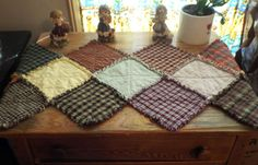 Items similar to Primitive Table Runner Rag Quilted Dresser Quilt Country Rustic 41 Inches Long Batting Handmade Cabin Lodge Prim Primitive Multi Colored on Etsy Quilting Templates, Quilting Projects, Quilting Designs, Sewing Projects, Quilting Ideas, Table Runner And Placemats, Crochet Table Runner, Quilted Table Runners, Rag Quilt Patterns