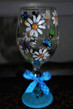 Personalized Hand Painted Wine Glass for a Bridesmaid
