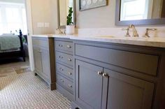 Gray Bathroom Cabinets - Design photos, ideas and inspiration. Amazing gallery of interior design and decorating ideas of Gray Bathroom Cabinets in bathrooms by elite interior designers. Painted Gray Cabinets, Grey Bathroom Cabinets, Painting Bathroom Cabinets, Grey Bathroom Vanity, Grey Cabinets, Grey Bathrooms, White Bathroom, Bathroom Flooring, Bathroom Vanities