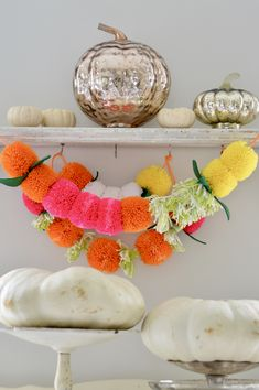 pompom garland / marigold garland / floral garland / pompoms / fall decorations / nursery decor / nursery ideas / nursery inspo