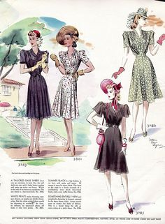 1940s fashion, flower print, colorful, short sleeves with collar.