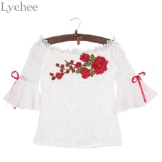 Lychee Sexy Summer Women Blouse Floral Embroidery Off Shoulder Mesh Bow Tie Flare Sleeve Shirt Tops  #ootd #cool #beautiful #shopping #streetstyle #model #swag #stylish #cute #instafashion