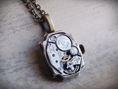 Steampunk Necklace, Vintage Watch Case, Clockwork Necklace, Steampunk Jewelry, Brass on Etsy,