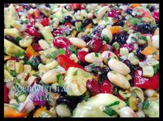 Click **Share** to *Save* this Awesome Recipe to your Timeline!  Southwest Bean Salad  1 can kidney beans... 1 can black beans 1 can small white beans 1 red onion 1 large red bell pepper 1 cup cooked corn kernels 2-3 green onions (green part only) 2 ripe avocados chopped ½ cup cilantro loosely chopped ¼ cup extra virgin olive oil ¼ cup red wine vinegar ½ teaspoon salt or to taste, pepper to taste  Drain all beans and put in large serving bowl. Dice red onion and red pepper, add to beans. Add…
