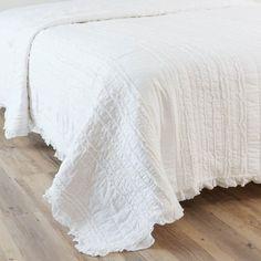 Cubrecamas de algodón blanco 240 x 260 cm ANNELISE