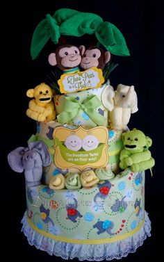 Twins gender neutral jungle themed  diaper cake www.facebook.com/DiaperCakesbyDiana