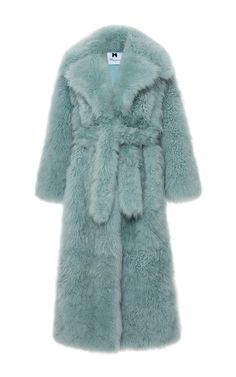 This **Blumarine** coat features an oversized notched collar, a self-tie belt at the waist, and a relaxed fit.