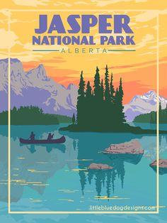 Copyright 2020 Little Blue Dog Designs Jasper National Park, Grand Canyon National Park, National Park Posters, National Parks, Blue Dog, Rest Of The World, Vintage Travel Posters, Colour Schemes, Dog Design