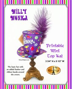 1/2 OFF COUPON Willy Wonka Top Hat Printable, Willy Wonka Birthday Party Hat Willy Wonka Party Hat, Candy Man Mini Top Hat Stovepipe WW 010 by DetourDuJour on Etsy