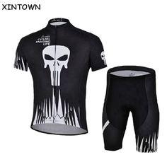 Cheji negro hombres bici jersey cortos establecidos ciclismo bicicleta  corta jersey cráneo ciclismo jersey mountain bike maillot de manga corta en  Conjuntos ... 8321f516be604